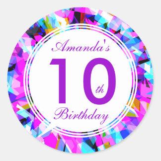 Number 10 - Birthday Round Sticker