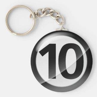 Number 10 black Key Chain