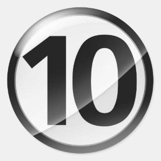 Number 10  black sticker