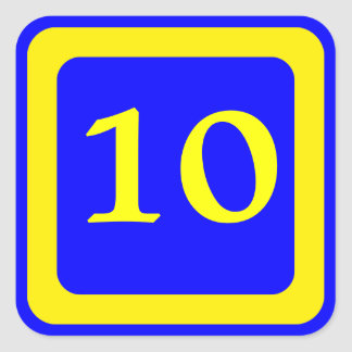 number 10, blue background, yellow frame square sticker