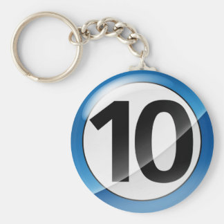 Number 10 blue Key Chain