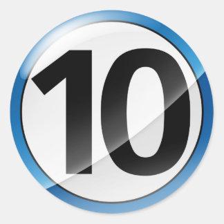 Number 10  blue sticker