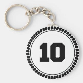 Number 10 circle basic round button keychain