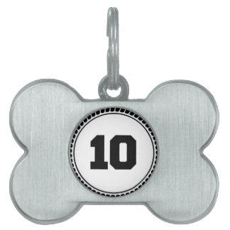 Number 10 circle pet name tag