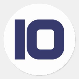 Number 10 classic round sticker