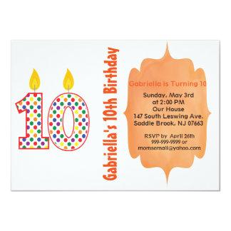 Number 10 Colorful Polka Dot Birthday Invitation