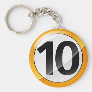 Number 10 gold Key Chain