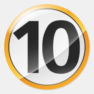 Number 10 gold sticker