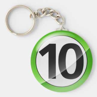 Number 10 green Key Chain