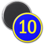 number 10 in a circle 2 inch round magnet