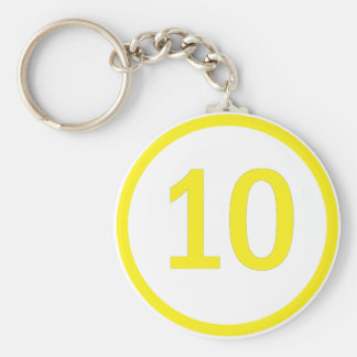 number 10 in a circle basic round button keychain
