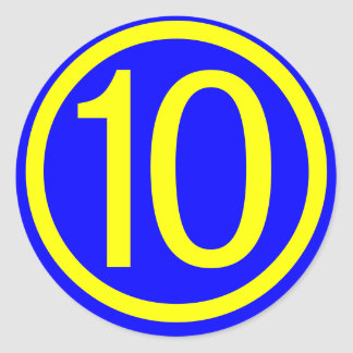 number 10 in a circle, blue background classic round sticker
