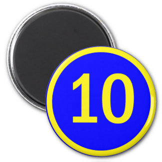 number 10 in a circle magnet