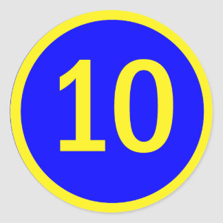 number 10 in a circle round sticker