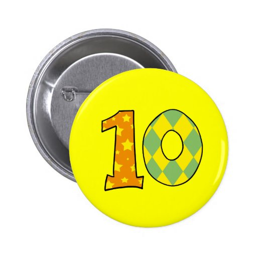 Number 10 pinback button
