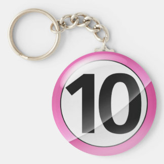 Number 10 pink Key Chain
