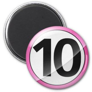 Number 10 pink Mangent 2 Inch Round Magnet