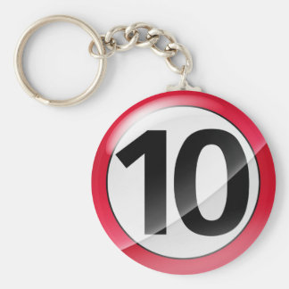 Number 10 red Key Chain