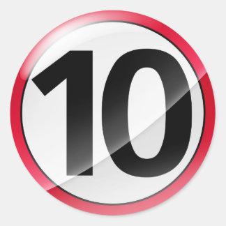 Number 10  red sticker