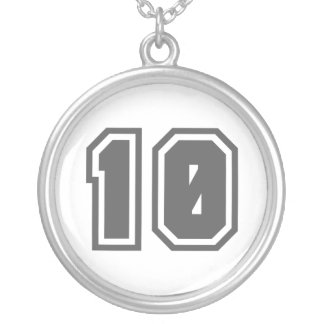 Number 10 round pendant necklace
