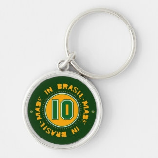 Number 10 Silver-Colored round keychain