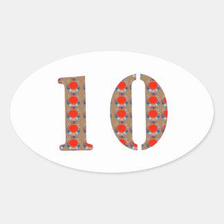 Number 10 TEN Birthday Anniversary  REMEMBERANCE Oval Sticker