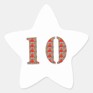 Number 10 TEN Birthday Anniversary  REMEMBERANCE Star Sticker