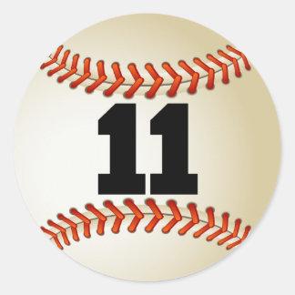 Number 11 Baseball Classic Round Sticker