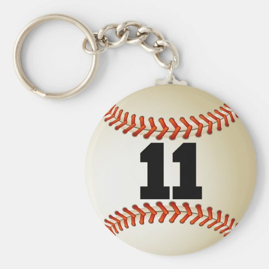 Number 11 Baseball Keychain