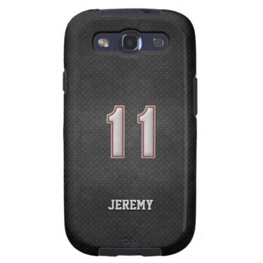 Number 11 Baseball Stitches with Black Metal Look Galaxy S3 Case