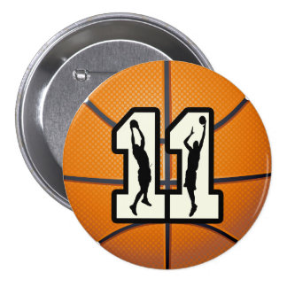 Number 11 Basketball and Players 3 Inch Round Button
