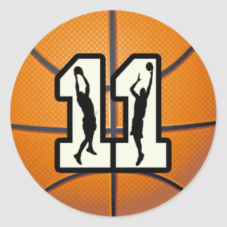 Number 11 Basketball and Players Classic Round Sticker