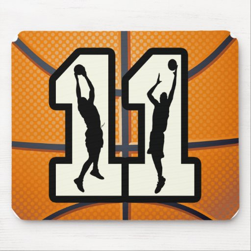 Number 11 Basketball and Players Mouse Pads