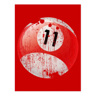 NUMBER 11 BILLIARDS BALL - ERODED STYLE POSTCARD