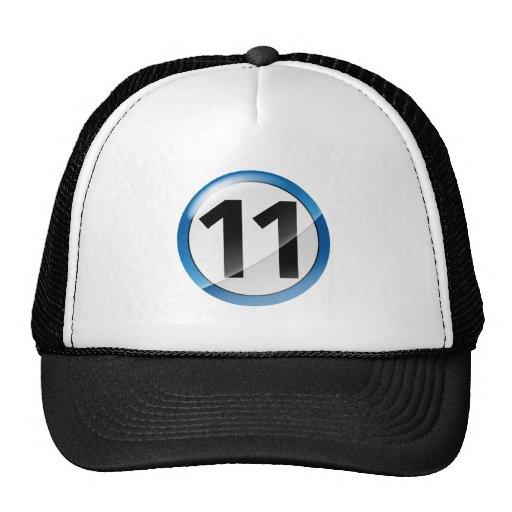 Number 11 blue trucker hat