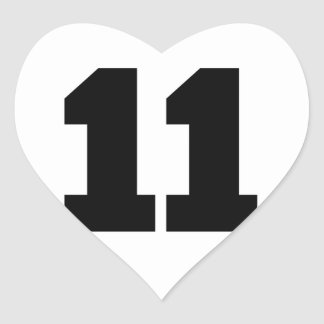 Number 11 Circle Heart Sticker