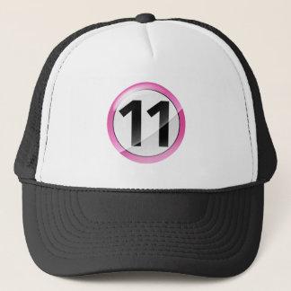 Number 11 pink trucker hat