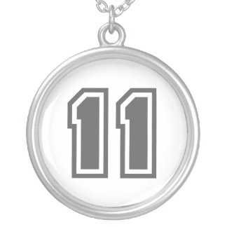 Number 11 silver plated necklace