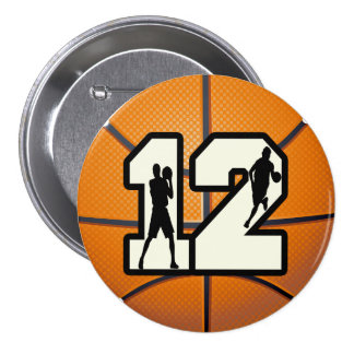 Number 12 Basketball and Players 3 Inch Round Button