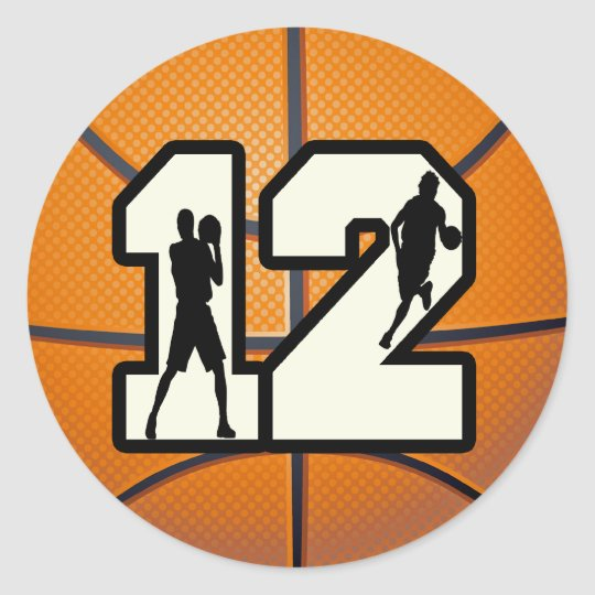 Number 12 Basketball and Players Classic Round Sticker