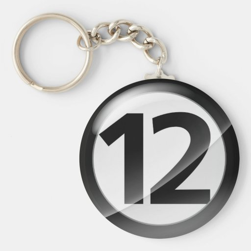 Number 12 black Key Chain