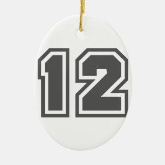 Number 12 ceramic ornament
