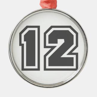 Number 12 metal ornament