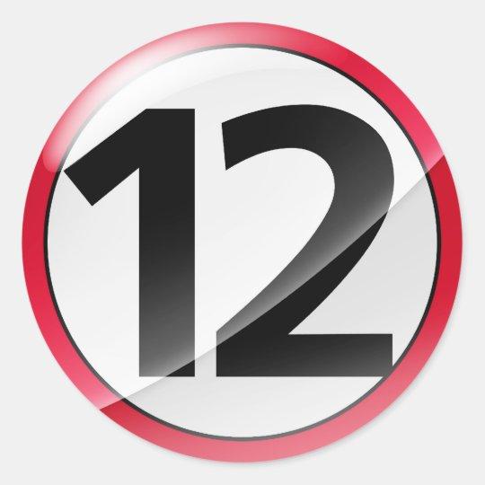 Number 12  red sticker