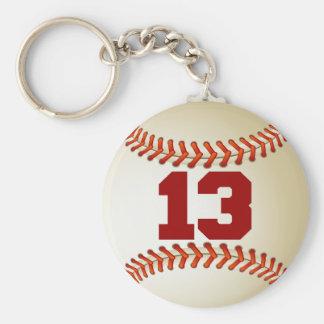 Number 13 Baseball Keychain