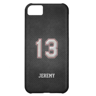 Number 13 Baseball Stitches with Black Metal Look Cover For iPhone 5C
