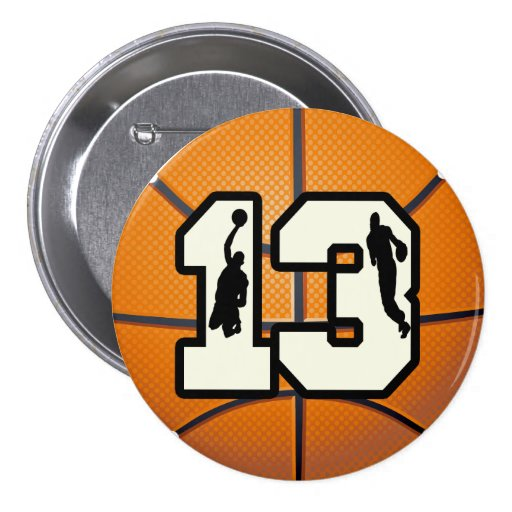 Number 13 Basketball and Players 3 Inch Round Button