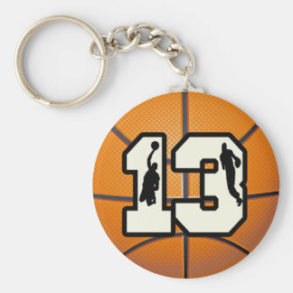 Number 13 Basketball and Players Keychain