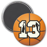 Number 13 Basketball and Players 3 Inch Round Magnet