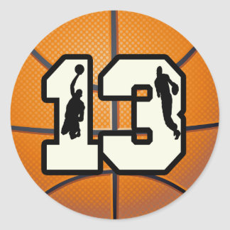 Number 13 Basketball and Players Round Stickers